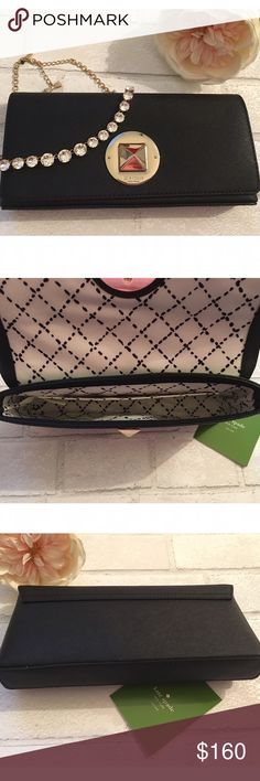 "25% Off Sale Kate Spade Black Clutch Gold Hardware Brand New!!! Kate Spade Black Clutch with 14k Gold Hardware. Material: Safiano Leather. Size: 10""W x 5.5""H x 2.5""D kate spade Bags Clutches & Wristlets"