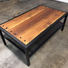 Modern Industrial Carriage Coffee Table Source by etsy Welded Furniture, Industrial Design Furniture, Steel Furniture, Rustic Industrial, Outdoor Furniture, Rustic Wood, Wood Steel, Wood And Metal, Welding Table