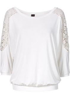 Oversized-Shirt mit Spitze, BODYFLIRT, wollweiß