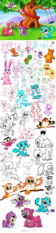 Bir proje için tasarlanan karakter çeşitlemeleri.