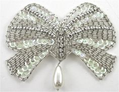 """Bow Rhinestones Silver Beads Iridescent Sequins and Pearls 3.5"""" x 4.5"""""""