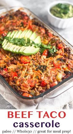 Ground beef sweet potatoes peppers and onions kale and taco seasoning all baked together in one dish to make a satisfying and comforting paleo and beef taco casserole. It's easy to make healthy and delicious. Great for meal prep too! - Eat the Gains Paleo Menu, Paleo Cookbook, Easy Paleo Dinner Recipes, Paleo Keto Recipes, Dinner Healthy, Healthy Recipes Dinner Weightloss, Delicious Recipes, Healthy Food, Paleo Meal Prep