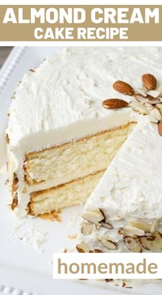 Velvety, smooth, from-scratch white cake. There's nothing like it! This Almond Cream Cake uses a unique technique to ensure a smooth texture. What is that technique? Beat the egg whites until they are fluffy, then fold them into the cake batter in the end. Be sure you fold them in completely, but be gentle! You want those eggs to keep their fluffiness to add lightness to the cake. Homemade White Cakes, Homemade Cake Recipes, Almond Cream Cake Recipe, Whipped Frosting, Cake Recipes From Scratch, Unique Cakes, Almond Cakes, Egg Whites, Cake Batter