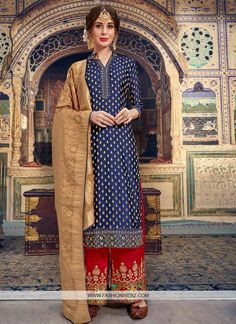 Looking for latest designer palazzo suits online? Mangalam brings to you a wide range of palazzo suits designs at the best price. Get latest Palazzo Suits for women at Mangalam. Salwar Suits Online, Designer Salwar Suits, Trouser Suits, Trousers, Palazzo Suit, Palazzo Style, Dark Blue Color, Navy Blue, Royal Blue