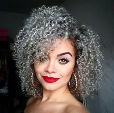 natural hairstyles for gray hair - Yahoo Image Search Results Kinky Curly Hair, Curly Hair Styles, Natural Hair Styles, Curly Human Hair Extensions, New Hair Colors, Hair Colour, Natural Hair Journey, Silver Hair, Hair Today