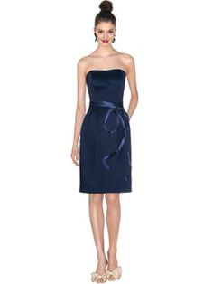 Navy, Dark Blue Bridesmaid Dresses   I love that our bridesmaids won't be too covered in the Florida heat, and they can totally use this dress again.  With them spending their money for our day, I would love for them to get something they can use again! Love the color and sash.