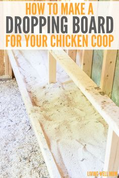 """Save time and effort with this simple dropping board concept for your chicken coop. Find out how to build it and the """"secret"""" that makes it work so well! How to Make a Dropping Board for Your Chicken Coop Lisa Florko ldflorko Chickens Save time and"""
