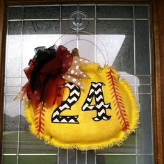 Customized Softball Burlap Door Hanger by AllieMaries on Etsy, $30.00