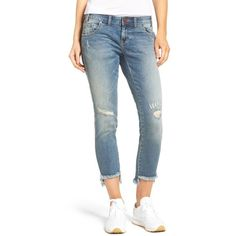 Women's One Teaspoon Freebird Ii Crop Skinny Jeans ($147) ❤ liked on Polyvore featuring jeans, labyrinth, cropped jeans, cropped skinny jeans, stretch denim jeans, raw edge skinny jeans and skinny fit denim jeans