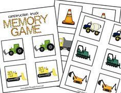 This is a little construction truck memory/matching game freebie. Just print, cut, and play! Enjoy!! Please visit my blog! www.teachinginmyyogapants.blogspot.comThank you, happy learning!Katie