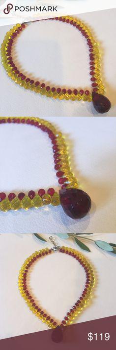 Anthropologie UK designer Quartz necklace NWOT Anthropologie UK designer collection red & yellow Quartz & sterling silver necklace NWOT Anthropologie Jewelry Necklaces