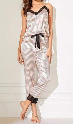 Pink Lace Trim Satin Cami Top And Striped Pants Pajama Set Cute Sleepwear, Sleepwear Women, Pajamas Women, Pajama Outfits, Crop Top Outfits, Cami Tops, Pretty Lingerie, Sexy Lingerie, Silk Pajamas