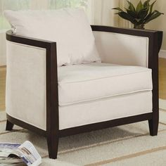 Brand New Accent Seating Upholstered Accent Chair with Exposed Wood.   #Coaster