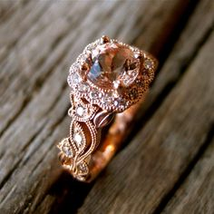 Custom Made Pink Peach Morganite Engagement Ring in 14K Rose Gold with Diamonds and Leaf on Vine Motif Size 4.5