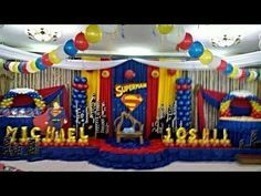 Superman First Birthday Party Ideas Superman Party Theme, Superman Party Decorations, Birthday Party Decorations, Superhero First Birthday, Superhero Party, First Birthday Parties, First Birthdays, Spider Man Party, Avenger Party