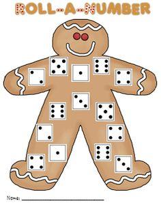 Gingerbread roll-a-number game FREEBIE #Kindergarten