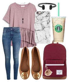 """""""School outfit"""" by jadenriley21 on Polyvore featuring Herschel Supply Co., GUESS, Kendra Scott, Casetify, H&M and Tory Burch"""