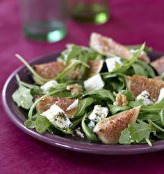 Salade de roquette aux figues, noix et feta - Recettes de cuisine Ôdélices