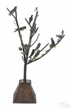 Large carved and painted German bird tree, 19th c., with branches holding ten birds - Price Estimate: $800 - $1200