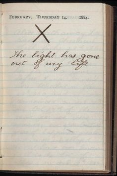 Teddy Roosevelt's diary the day his wife Alice died from Bright's disease. He was 25, she 22.