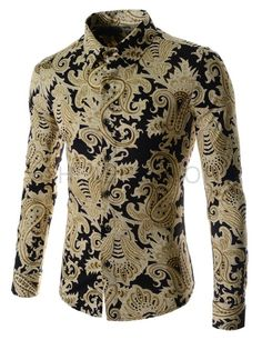 (CEL36-GOLD) Mens China Collar Henley Neck Pocket Button Point Long Sleeve Shirts