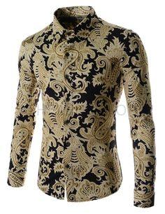 (CEL36-GOLD) Mens China Collar Henley Neck Pocket Button Point Long Sleeve Shirts African Men Fashion, African Wear, Mens Paisley Shirts, Mens Fashion Shoes, Fashion Outfits, Mens Hottest Fashion, Gents Shirts, Moda Formal, Men's T Shirts