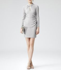 Womens Silver Grey Slit Front Ruched Dress - Reiss Rossini