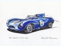 1955 jaguar XK-D raza coche deportivo clásico por ArtFashionDesign