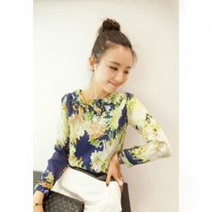 $6.16 Ladylike Round Neck Mosaic Print Long Sleeve Chiffon Shirt For Women