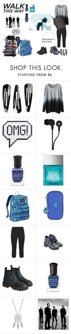 """Blue school chic"" by sakakashi ❤ liked on Polyvore featuring NLY Accessories, 7 For All Mankind, Anya Hindmarch, Skullcandy, Deborah Lippmann, Michael Kors, JanSport, Kipling, Twister and Anouki"