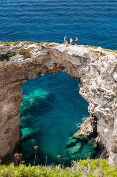 Trypitos Arch, Paxos / Greece (by Rupert Brun). (It's a beautiful world) Places Around The World, Oh The Places You'll Go, Places To Travel, Places To Visit, Travel Destinations, Dream Vacations, Vacation Spots, Vacation Rentals, Paxos Greece