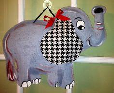 Bama Elephant  Burlap Door Hanger by PolkadotPenguinShop on Etsy, $30.00