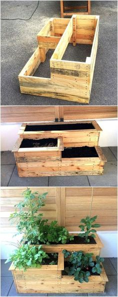 Repurposing Plans for Shipping Wood Pallets. For the decoration lovers, here is an idea for decorating the home in a unique way with the repurposed wood pallet planter in which the flower of different colors can be placed for the appealing look. There ar Wood Pallet Planters, Wood Pallet Furniture, Furniture Ideas, Pallet Wood, Outdoor Pallet, Pallet Patio, Backyard Furniture, Furniture Design, Upcycled Furniture