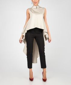 Another great find on #zulily! Beige Sleeveless Draping Hi-Low Top #zulilyfinds