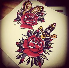 Traditional tattoos #rose #dagger #butterfly