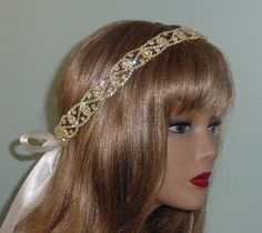 Crystal Rhinestone and Gold Tie Headband  for Wedding by AnnLeslie, $65.00