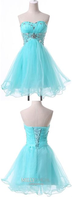 Modest Formal Dresses Short, Blue Prom Dresses for Teenagers, A Line Sweet Sixteen Dresses Satin, Sweetheart Graduation Dresses Organza - - College Formal Dresses, Modest Formal Dresses, Formal Dresses Online, Vintage Formal Dresses, Dresses Short, Social Dresses, Elegant Dresses, Beautiful Dresses, Vintage Homecoming Dresses