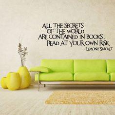 Amazon.com: Wall Vinyl Sticker Decals Decor Art Words Sign Quote Secret World Lemony Snicket (Z1136): Home & Kitchen