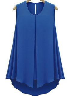 Blue Sleeveless Double Layers Chiffon Blouse $14