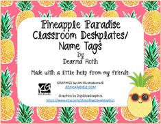 Pineapple Paradise Classroom Decor--Deskplates/Name Tags--
