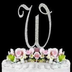 Completely Covered Swarovski Crystal Silver Wedding Cake Toppers ~ LARGE Monogram Letter W by RaeBella Weddings & Events New York, http://www.amazon.com/dp/B0084PRA1A/ref=cm_sw_r_pi_dp_hyx3sb1TJ4K25