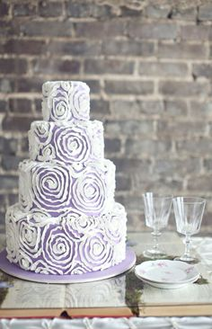 Lavender pleated cake