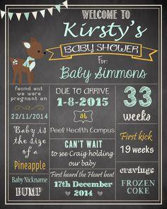 Deer Baby Shower Chalkboard Poster DIGITAL FILE