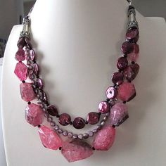 Chunky pink rock crystal and freshwater pearl beaded necklace, burgandy coin pearls, lavender pearls, silver necklace, beaded jewelry