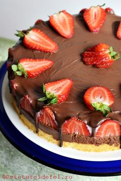 Romanian Food, Dessert Recipes, Desserts, Cake Recipes, Cheesecakes, Good Food, Strawberry, Food And Drink, Sweets