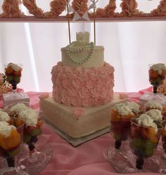 Pretty rose cake at a shabby chic baby shower party! See more party ideas at CatchMyParty.com!