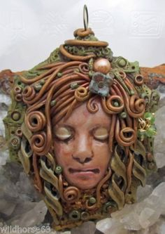 Lady of the Forest Hand Sculpted Polymer Pendant