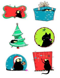 Scribbles and Doodles Paper Christmas Ornaments, Christmas Labels, Holiday Gift Tags, Christmas Cats, Christmas Printables, Party Printables, Christmas Holidays, Free Printables, Cat Themed Gifts