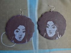 Dawnyele Afro Lady Denim Fabric Earrings by TheQueensGems on Etsy, $18.00