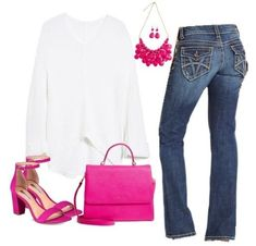 Spring Outfit with Hot Pink accents   #shopthelook #OOTD #SpringStyle